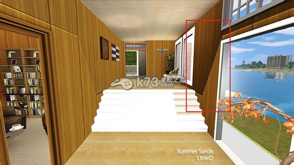 7. 将镜头移到二层,可以看到刚才因为删掉了左侧房间的地基,一楼天花板(二楼地板)缺失了。  8. 如果不希望建造成两层楼高大厅式的房间,就在缺失一楼天花板(二楼地板)处建造新的地板,这样二楼地板会自动生成。     9. 现在视角回到一楼,我们此时可以根据喜好设置地基图案,从而和墙壁图案更好的切合。   10.